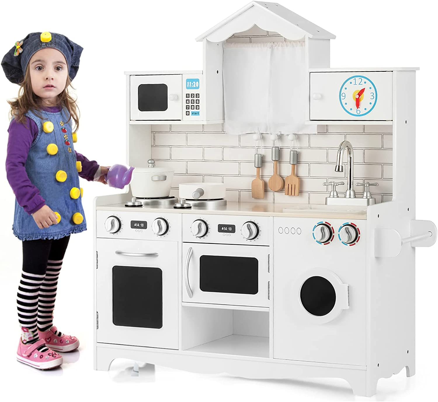 HONEY JOY Wooden Kitchen Playset for Kids, Rooftop Style Pretend Play Cooking Toy Set w/Washing Machine, Oven, Microwave, Sink, Stoves, Modern Realistic Cooking Set for Toddlers(White)