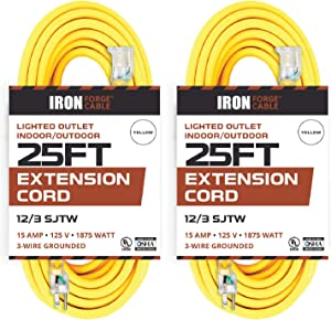 2 Pack of 25 Foot Outdoor Extension Cords - 12/3 SJTW Heavy Duty Lighted Yellow Extension Cable with 3 Prong Grounded Plug for Safety - Great for Garden and Major Appliances