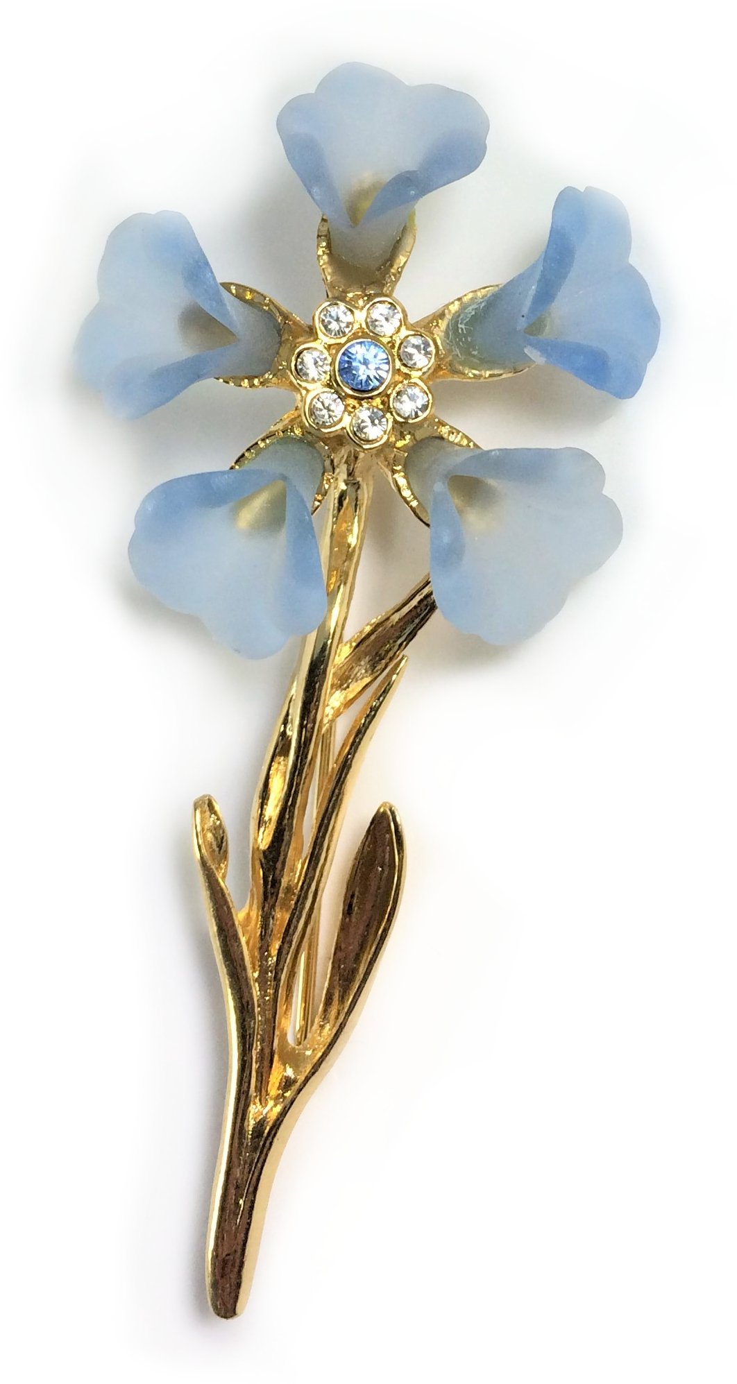 24K Gold Plated Blue Cornflower Faberge Style Brooch Pin - Gift Boxed