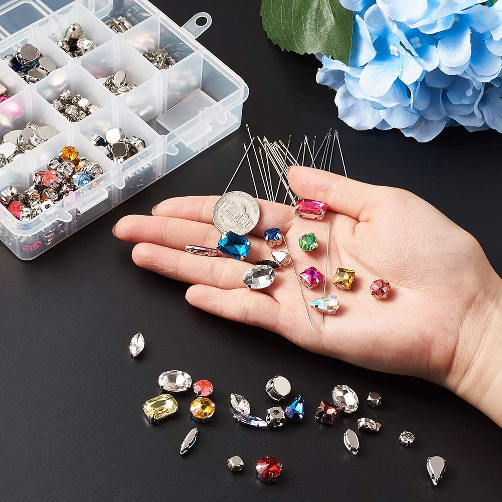Kissitty 180pcs//box Sew On Rhinestones Clear Flatback Crystal Gems with Iron Sewing Needles for DIY Project Clothing Dress Decorations