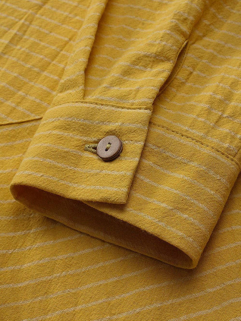 MORCHAN ❤ Femmes Coton ray/é Trois Quarts de Manches Chemise Chemisier d/écontract/é l/âche Bouton Tops Veste /à Capuche Sweat Manteau Tunique