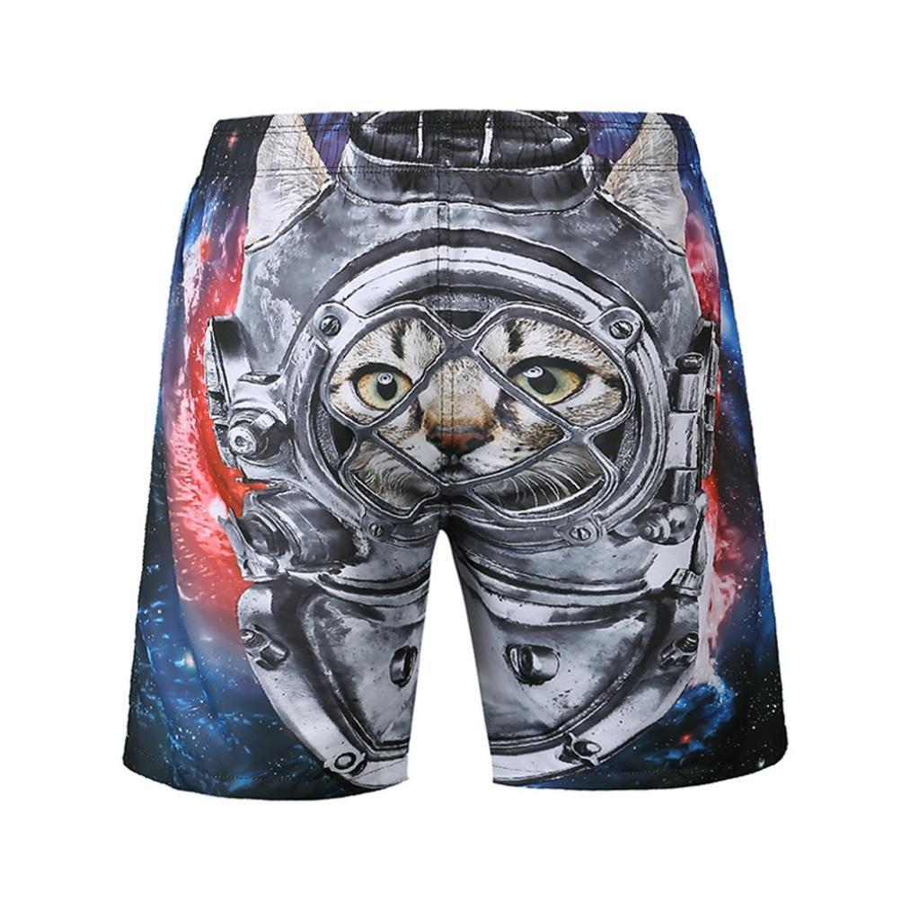 Mens 3D Shorts Pants Casual Cat Printed Beach Work Short Trousers Sale