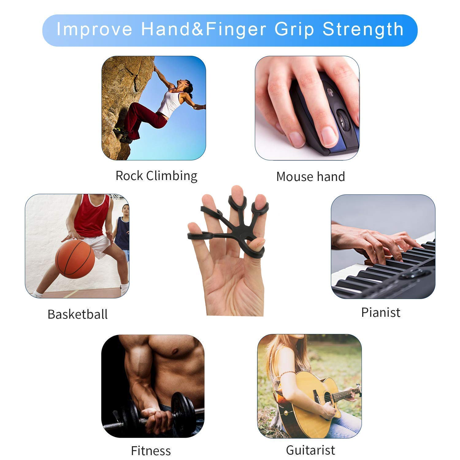 Finger Stretcher,6 Pack Hand Bands Resistance with Free Bag,New Material Grip Strength Trainer for Arthritis Carpal Tunnel Exercise Guitar and Rock Climbing KINGSOO Hand Grip Strengthener