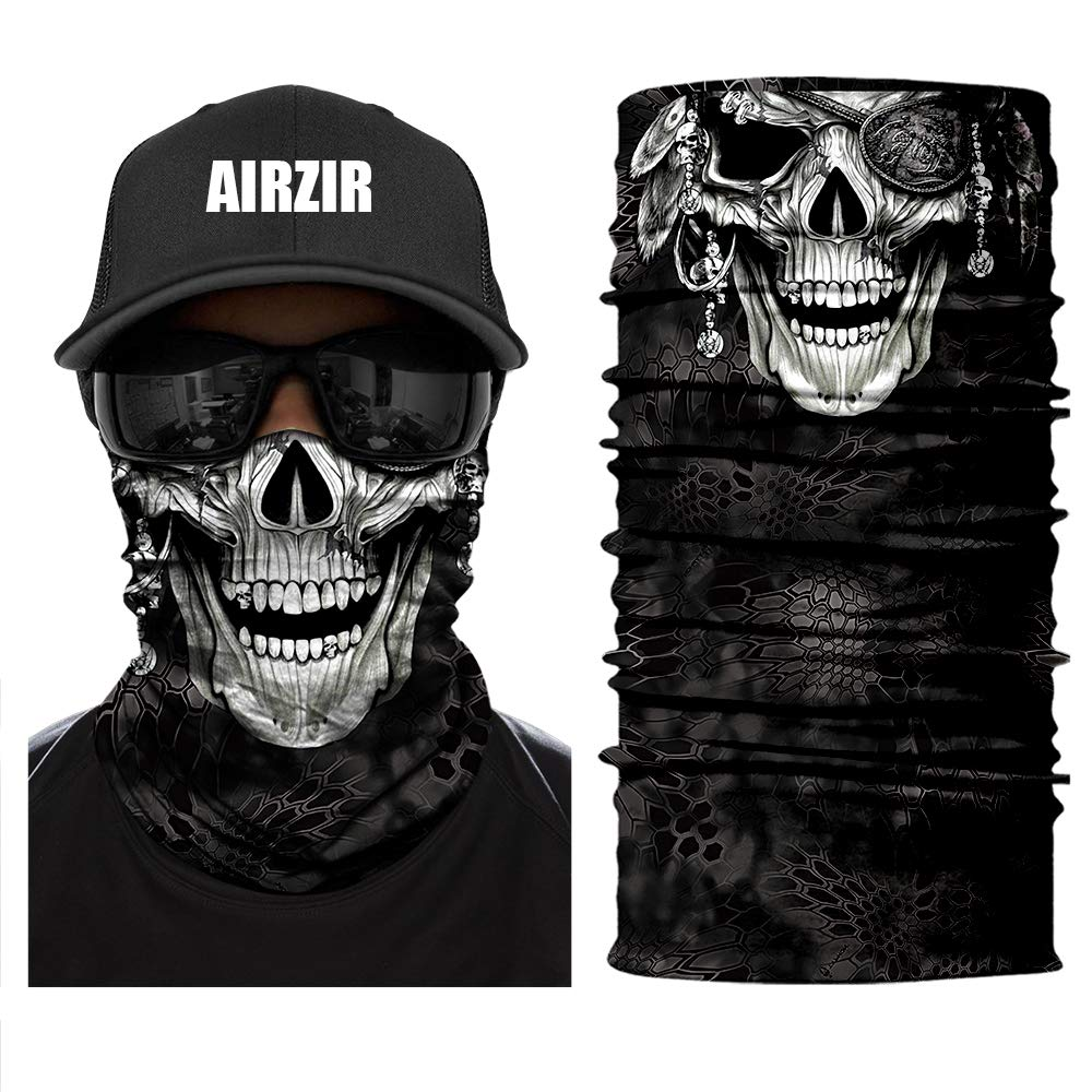 Airzir Skull Face Mask Premium Breathable Seamless Tube Motorcycle Face Mask Wind Dust UV Protection Moisture Wicking Microfiber Face Mask for Motorcycle Riding Cycling Hiking Climbing Skull-683