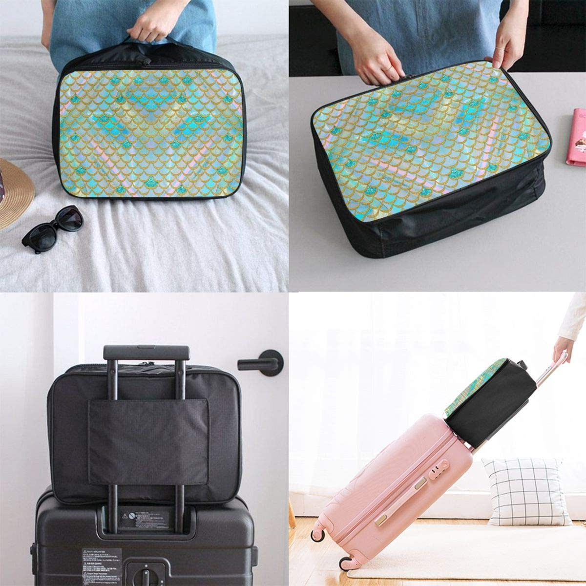 Travel Fashion Lightweight Large Capacity Duffel Portable Waterproof Foldable Storage Carry Luggage Tote Bag Watercolor Mermaid Fish Scales