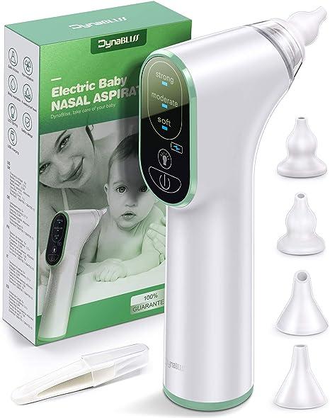 Aspirador Nasal Bebe Electrico, DynaBliss de Carga USB con 3 Niveles de Succión 4 Tamaños con Puntas Nasales de Regalo y Cepillo Limpio: Amazon.es: Bebé