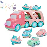 Cartoon Vehicles Playset Transport Car Carrier Truck with Sounds & Lights, Cars Toys for 1 2 3 4 Year Olds Toddler Kids Boys