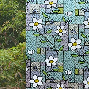 """VSUDO 1 Roll 35.4"""" by 78.7"""" Privacy Window Film, Frangipani Flower Pattern Window Tint, Static Cling Window Glass Sticker for Home (19.37 Sq. Ft Total)"""
