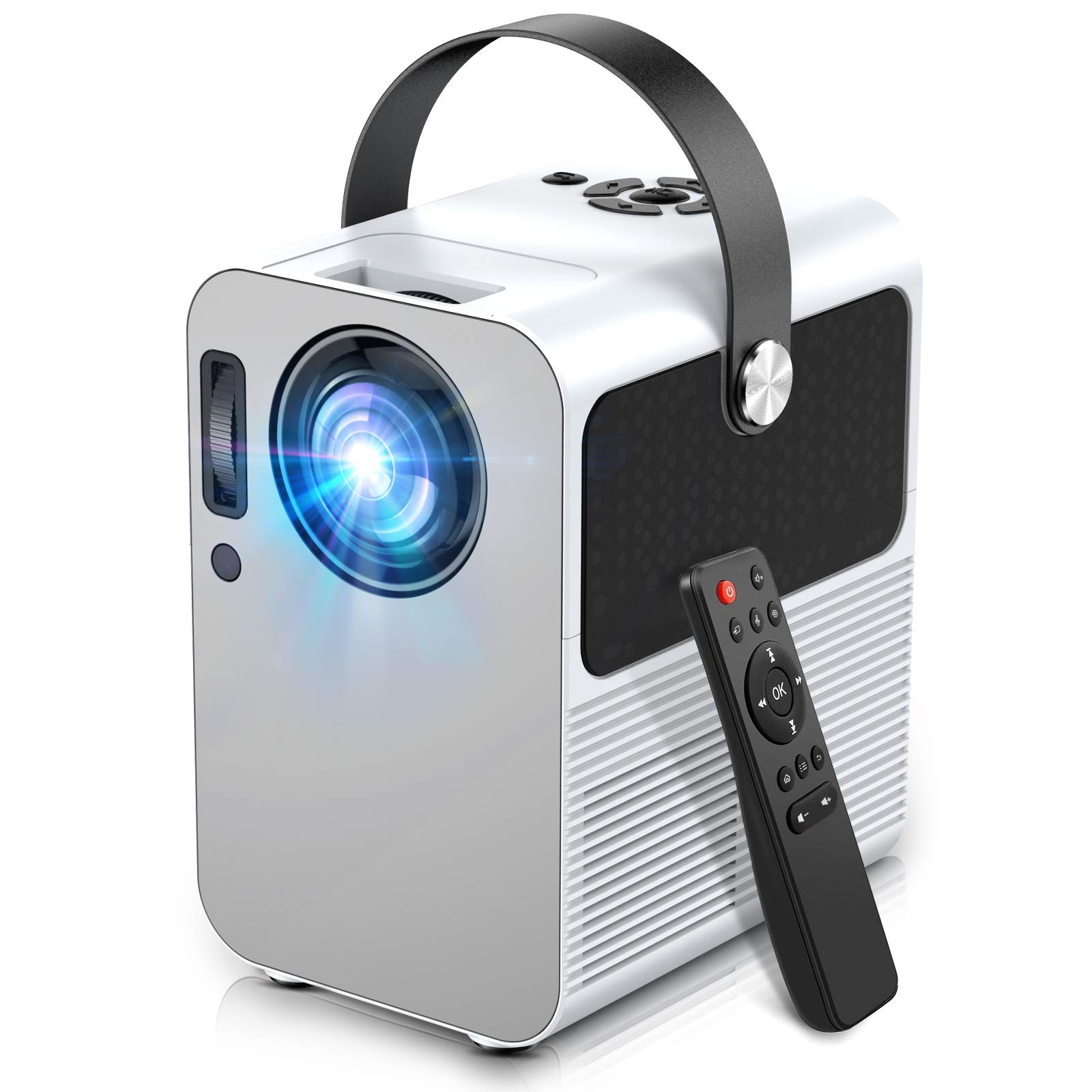 Mini Projector Portable Video Projector Full HD 1080P Supported with 5500 Lux