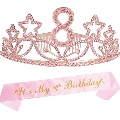 8th Birthday Gifts for Girl, 8th Birthday Tiara and Sash Pink, Happy 8th Birthday Party Supplies, Birthday Crown for 8th Birthday Party Supplies and Decorations: Health & Personal Care