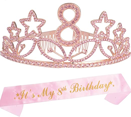 8th Birthday Gifts for Girl, 8th Birthday Tiara and Sash Pink, Happy 8th Birthday Party Supplies