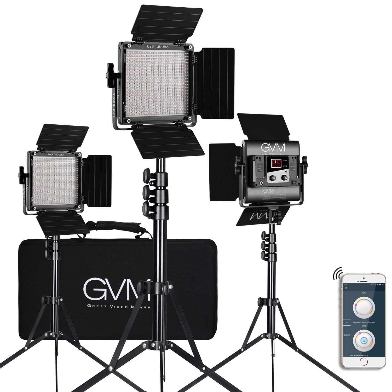 GVM 560 LED Video Light, Dimmable Bi-Color, 3 Packs Photography Lighting with APP Intelligent Control System, Lighting for YouTube Studio Outdoor, Video Lighting Kit, 2300K-6800K, CRI 97+ by GVM Great Video Maker
