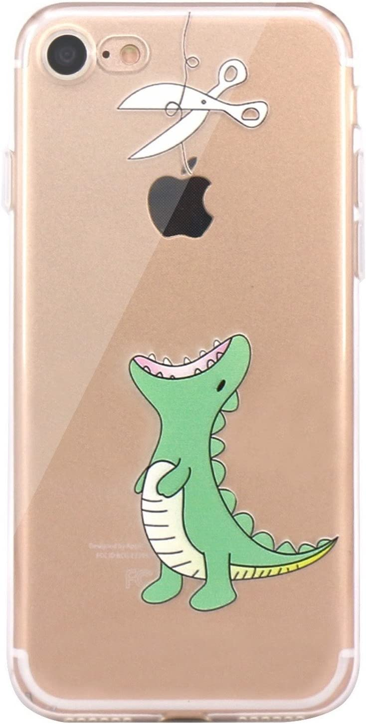 JAHOLAN iPhone 7 Case, iPhone 8 Case Amusing Whimsical Design Clear Bumper TPU Soft Case Rubber Silicone Cover for iPhone 7 iPhone 8 - Hungry Dinosaur