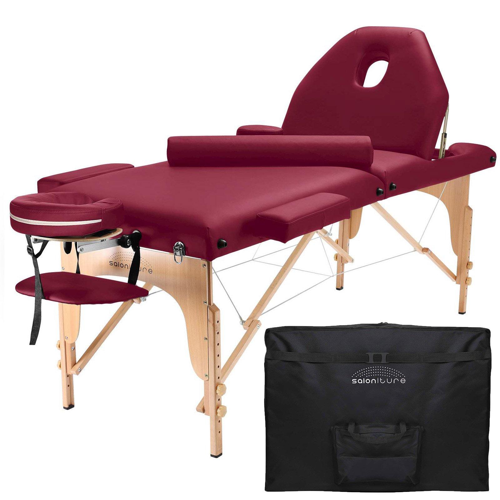 Saloniture Professional Portable Massage Table with Backrest - Burgundy