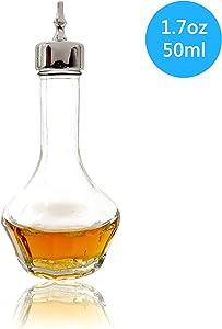 Bitter Bottle – Glass Bitter Bottle with Dash Top, 1.7oz/50ml, Great for Bartender, Home Bar – KJP01 (Silver)
