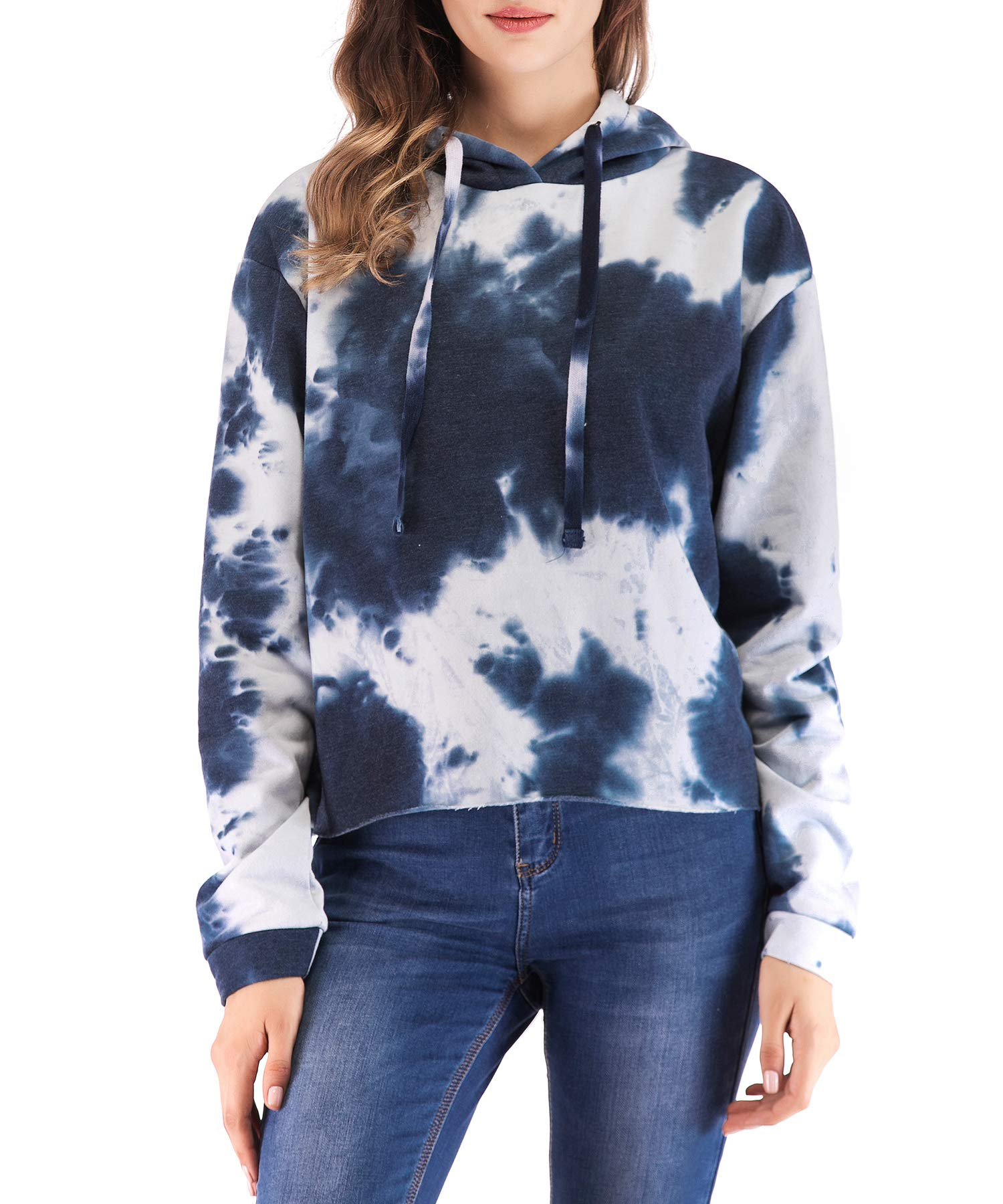 Eanklosco Womens Casual Long Sleeve Tie Dye Hoody (Navy Blue, M)