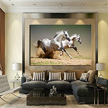 Printed Posters And Prints Wall Pictures For Living Room Running Horses  Painting On Canvas Home Decor