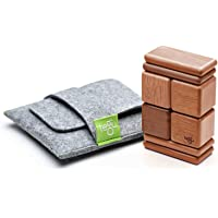 Tegu Pocket Pouch Magnetic Wooden Block Set, Mahogany, 8 Piece