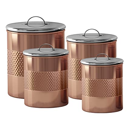 NuSteel TG-CH-04C-1 1 qt Hammered Canister  Copper