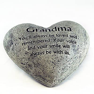 Gerson Heart Shaped Memory Stone for Grandma : Garden & Outdoor