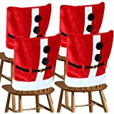 D-FantiX Santa Claus Suit Christmas Chair Covers with Belt Buckle Dining Room Chair Cover Christmas Decorations (Set of 4)