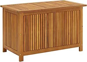Tidyard Garden Storage Deck Box with Inner Poly Bag Acacia Wood Garden Container Cabinet Wooden Toolbox for Patio, Lawn, Poolside, Backyard Outdoor Furniture 35.4 x 19.7 x 22.8 Inches (W x D x H)