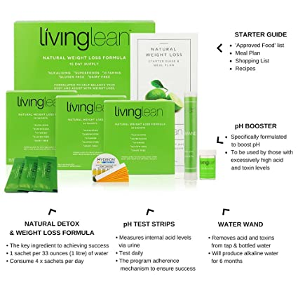 Living Lean Weight Loss Cleanse Kit 15 Days - Natural Organic - Alkaline  Your Body for Healthy &