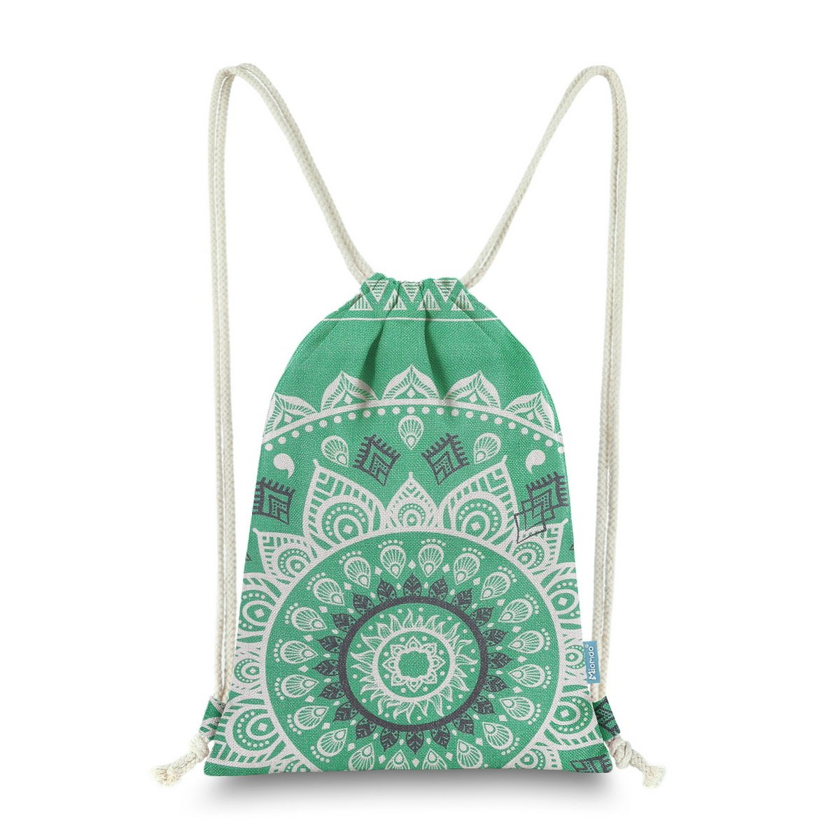 Miomao Drawstring Backpack Canvas Gym Sackpack, Geometric Mandala Style Gymsack with Zipper Pockets, Unisex Casual Bag Yoga Daypack Outdoor Rucksack, 13'' X 18'', Emerald