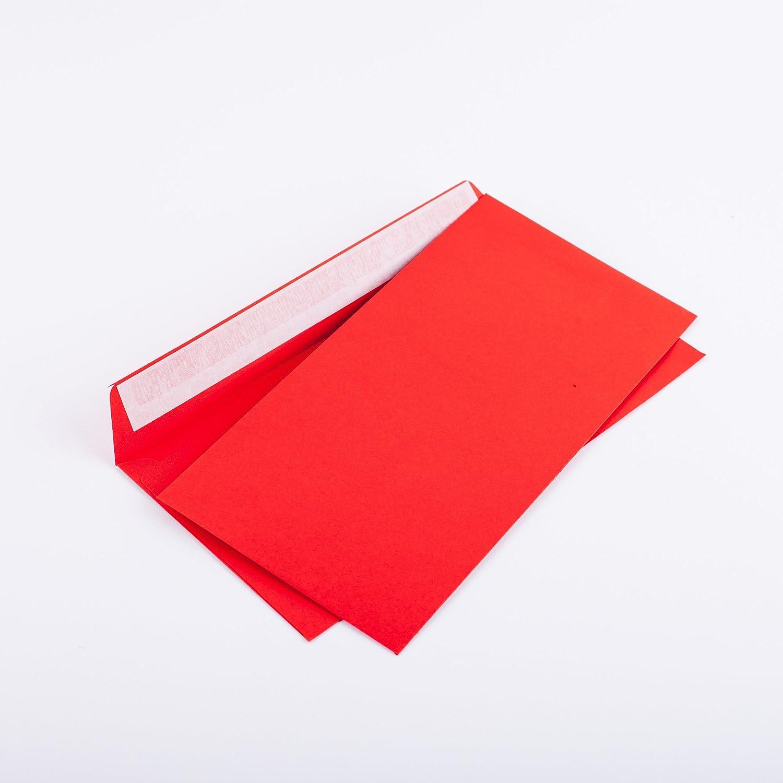 100Buste C6/5114X 229mm rosso 120G/M² senza finestra Haftklebend (Articolo: 206a) Kurt Envelopes