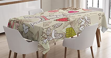 Paris Decor Tablecloth By Ambesonne, Doodles Illustration Of Eiffel Tower  Hearts Chandelier Flower Love Valentines