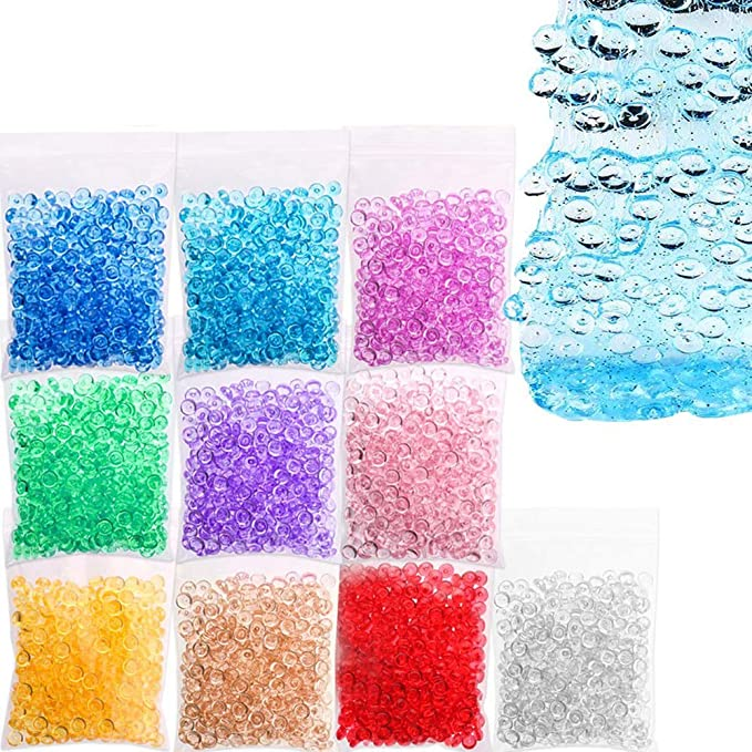 Colorful Sugar Paper Accessories,Slime Tools for Slime Making DIY Craft flat beads Glitter Jars Fishbowl Beads Foam Balls,Rainbow Pearl GREENWISH 90pcs Super Slime Supplies Beads Charms Include Floam Beads