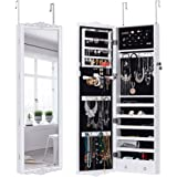 LANGRIA Full-Length Lockable Wall-Mounted Over-the-Door Hanging Jewelry Cabinet Armoire and Accessories Storage Organizer with 2 Drawers Carved Design and 3 Adjustable Heights (White)