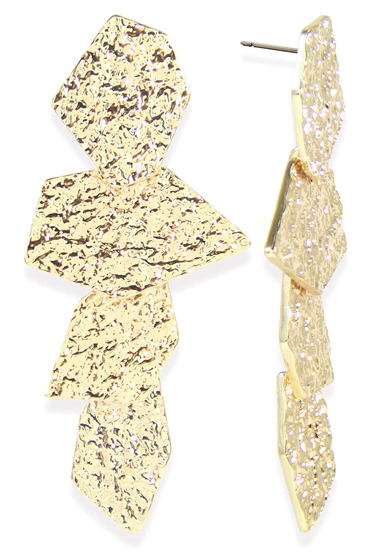 Taolei Designs 18K Gold Plated Geometric Gold Earrings New Womens Jewelry EG7954 3 x 1.25 18K Gold Plated Base Metal. 10