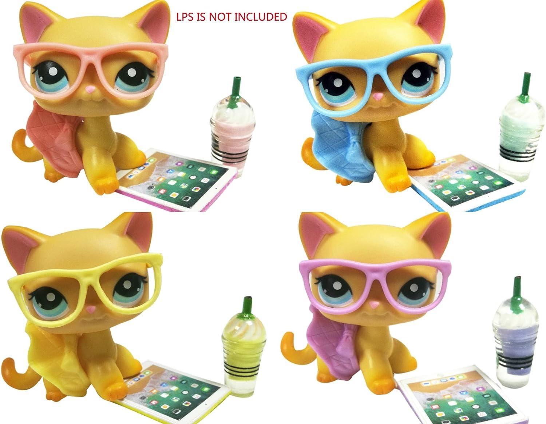 JWRAC LPS Accessories Set (Random 4 PCS)Lot Handmade Glasses Skirt Coffee Laptop for LPS Pets Collie Great Dane Shorthair Cat