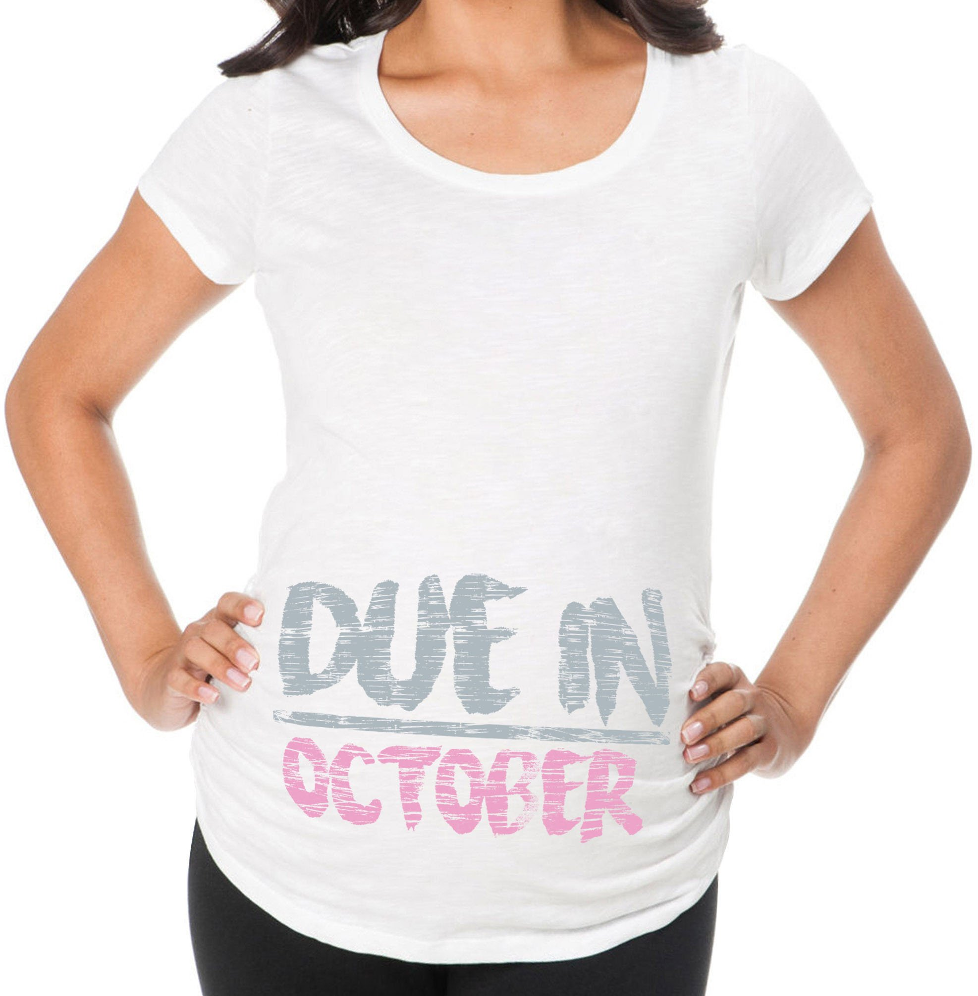 Awkward Styles Due In October Pregnancy Announcement Maternity T Shirt Cute Baby Shower Gift Birth Announcement White M