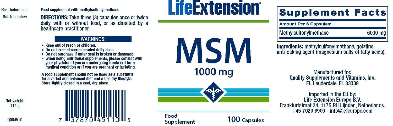 Life Extension, MSM, 1000 mg, 100 Capsules by Life Extension: Amazon.es: Salud y cuidado personal