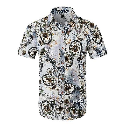 e40c3ed03 Men's Hawaiian Shirt,WYTong Summer Tropical Floral Print Short Sleeve Beach  Aloha Shirt(Green