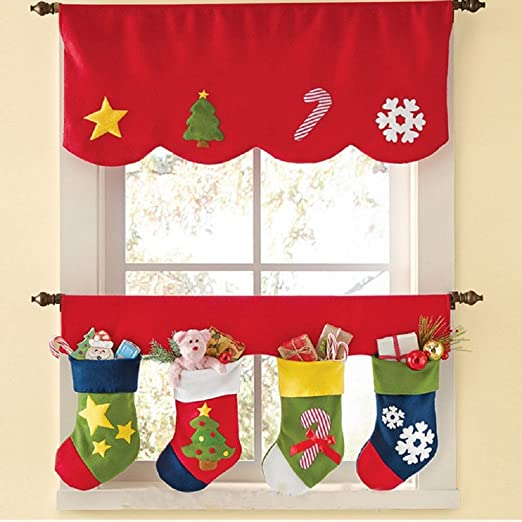Amazon.com: Sandistore Door Window Drape Panel Christmas Curtain ...