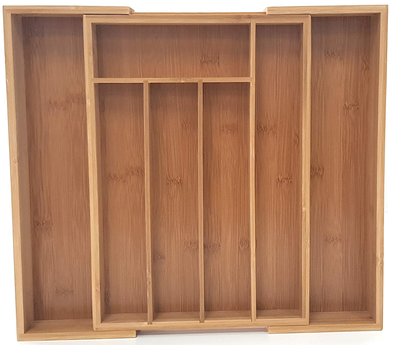 Caja de almacenamiento extensible de bambú, marco de madera ...