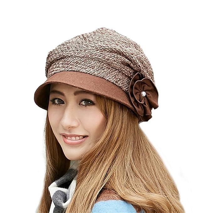 Amazon.com  doublebulls hats Beret Hat Women Lady Girls Plain Elegant  Flower Autumn Winter Dressy Gatsby Cap  Clothing ab3b374d63c