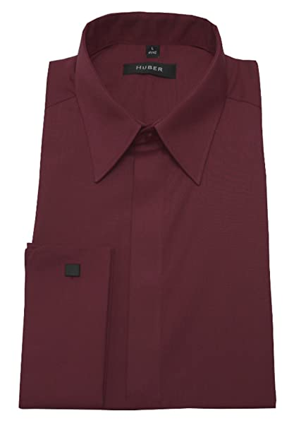 HUBER Umschlag Manschetten Hemd rot weinrot 0019 Bequeme Passform S bis  6XL  Amazon.de  Bekleidung d030fc6619
