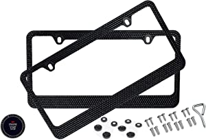 BLVD-LPF OBEY YOUR LUXURY Popular Bling 7 Row Black Color Crystal Metal Black License Plate Frame with Screw Caps - 2 Frames
