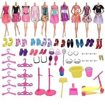 Amazon.es: 37YIMU 10 pcs un Paquete Ropa de muñeca Barbie + 100pcs ...
