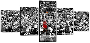 """5 Piece MJ Jordan Canvas Wall Art Michael Canvas Print for Home Wall Decor, Air-Jordan Poster Picture Canvas Painting for Men Teen Boys Room Decor, Large Framed Canvas Print Ready to Hang (50""""Wx24""""H)"""