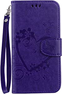 XYX Love Heart PU Leather Case Cover for iPhone 5S/iPhone SE 2016/iPHone 5 (Purple)