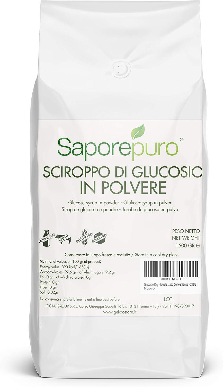 Polvo de glucosa - Jarabe de glucosa en polvo - Ideal para helados, sorbetes y postres - 1,5 kg