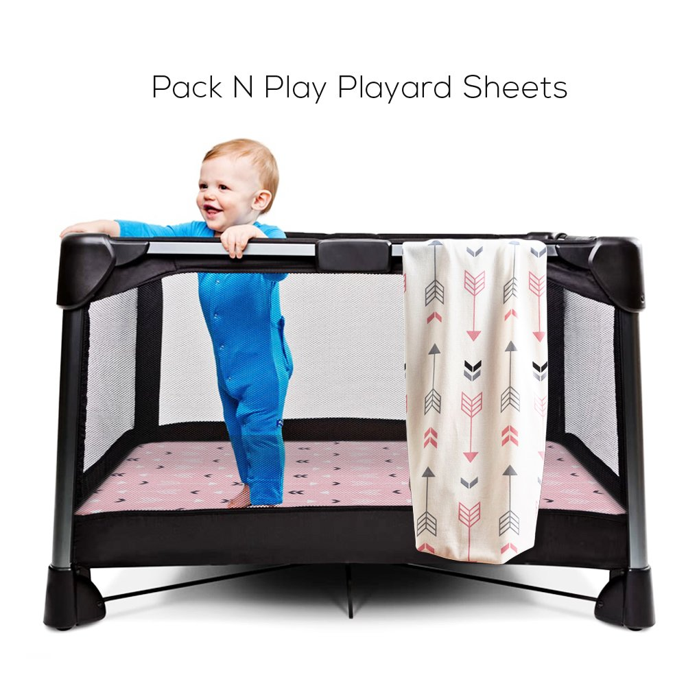 Stretchy Fitted Pack n Play Playard Sheet Set-Brolex 2 Pack Portable Mini Crib Sheets,Convertible Playard Mattress Cover,Ultra Soft Material,Pink & White Arrow Design by BROLEX (Image #5)