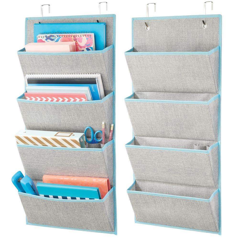 mDesign Soft Fabric Over Door Hanging Home Office Storage Organizer, 4 Large Cascading Pockets - Holds Office Supplies, Planners, File Folders, Notebooks - Textured Print - 2 Pack - Gray/Teal