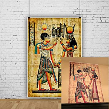 OFILA Ancient Egyptian Paintings Backdrop 3x5ft Pharaoh Queen Photography  Background Ancient Egyptian Mural Wall Home Decor Wallpaper Egyptian Theme