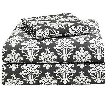 victoria damask 3 piece twin xl sheet set for college dorm bedding